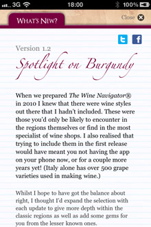 Wine Navigator® 'What's New'